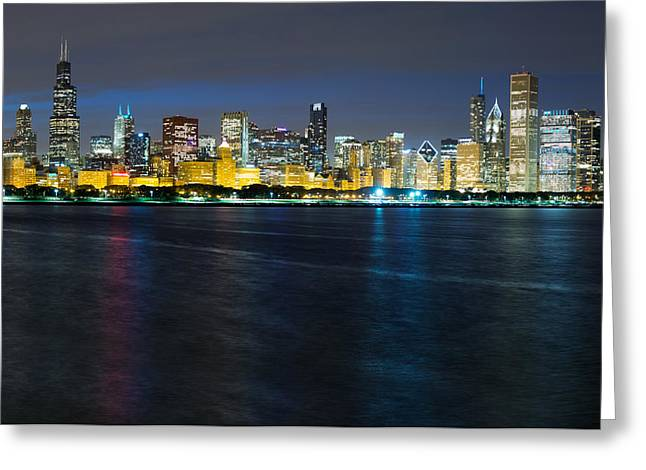 Chicago Skyline At Dusk Greeting Card by Twenty Two North Photography