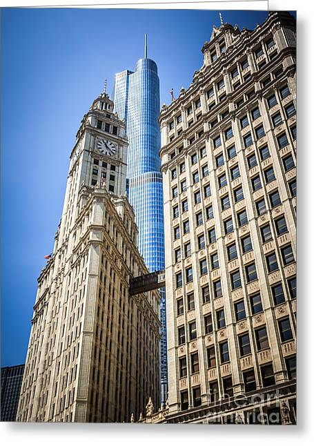 Chicago Trump Tower And Wrigley Building Greeting Card