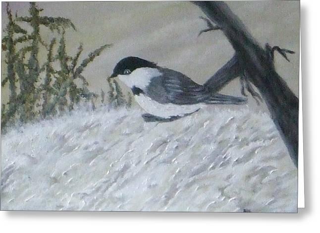 Chickadee Greeting Card by Rebecca  Fitchett