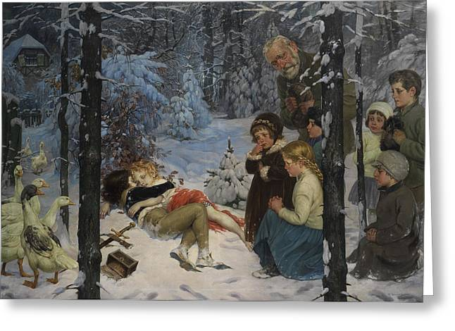 Children In The Snow Greeting Card by Richard Borrmeister
