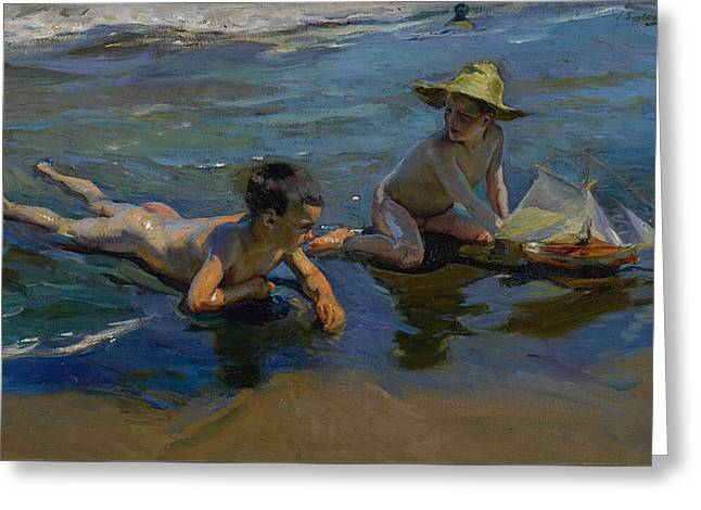 Children Playing On The Beach Greeting Card by Joaquin Sorolla