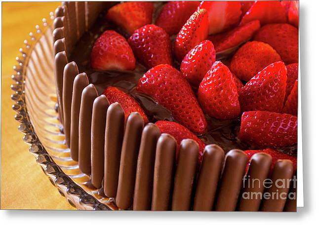 Chocolate And Strawberry Cake Greeting Card by Carlos Caetano
