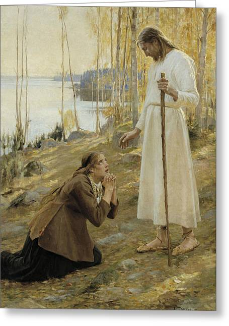 Christ And Mary Magdalene, A Finnish Legend Greeting Card by Albert Edelfelt