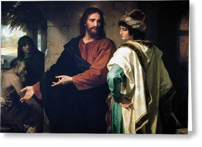 Christ And The Rich Young Ruler Greeting Card