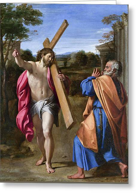 Christ Appearing To Saint Peter On The Appian Way Greeting Card