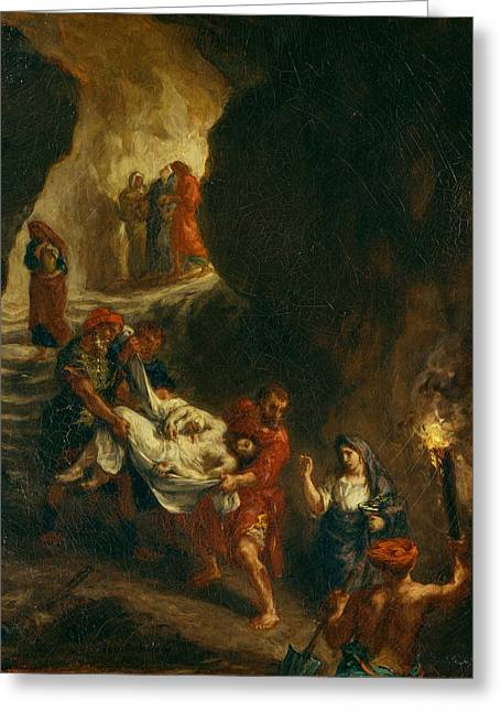 Christ Carried Down To The Tomb Greeting Card by Eugene Delacroix