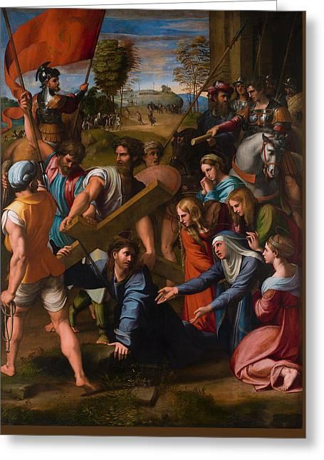 Christ Falls On The Way To Calvary Greeting Card by Raffaello Sanzio