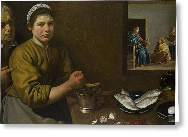 Christ In The House Of Martha And Mary Greeting Card by Diego Velazquez
