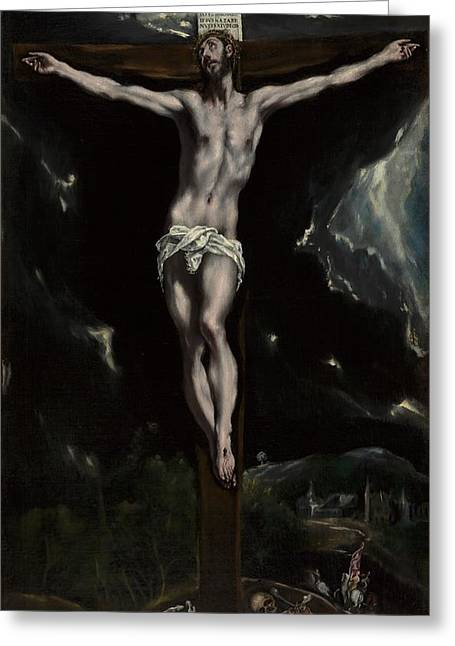 Christ On The Cross Greeting Card by El Greco