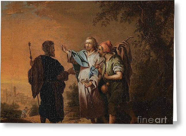 Christ On The Road To Emmaus Greeting Card by Celestial Images