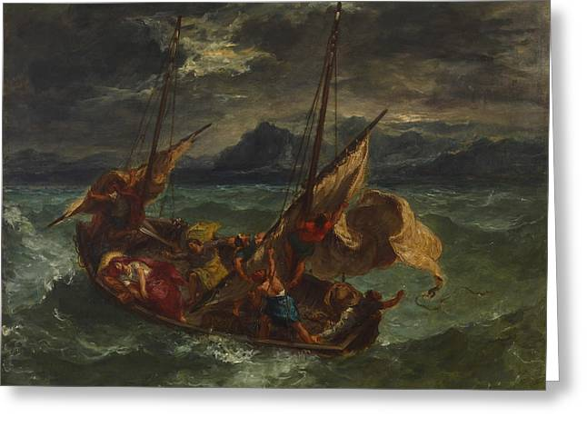 Christ On The Sea Of Galilee Greeting Card by Eugene Delacroix