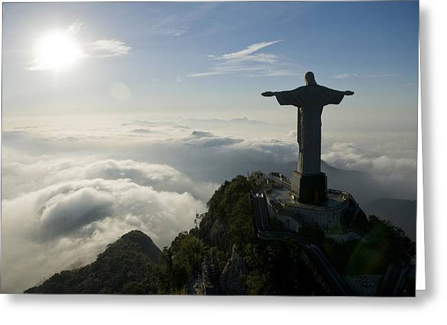 Christ The Redeemer Statue At Sunrise Greeting Card by Joel Sartore