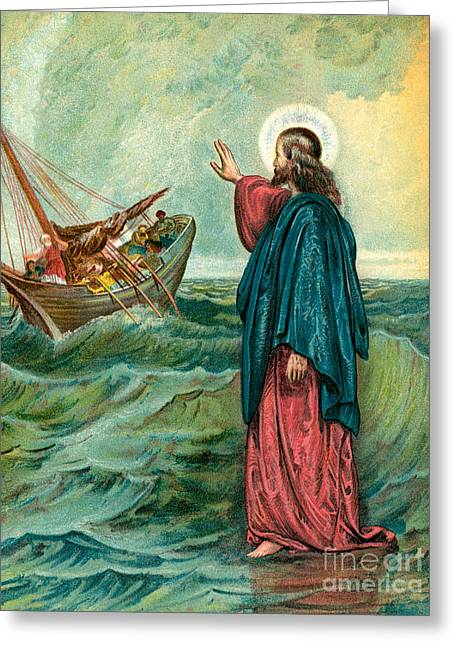 Christ Walking On The Sea Greeting Card by English School