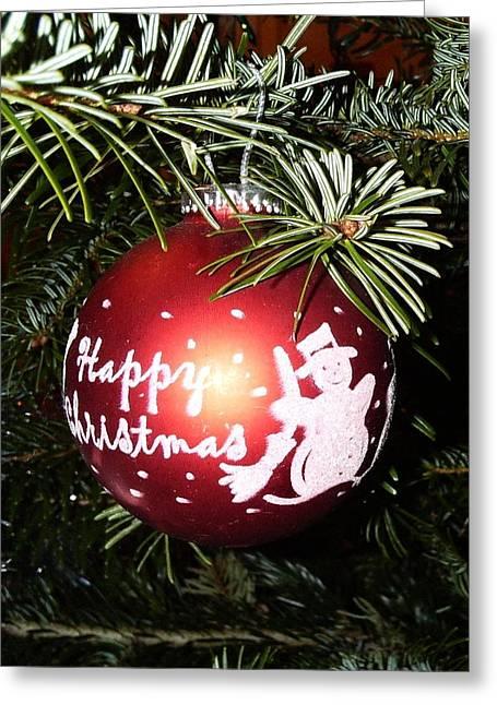 Christmas Bauble Greeting Card by Deborah Brewer
