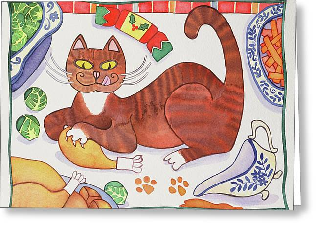 Christmas Cat And The Turkey Greeting Card