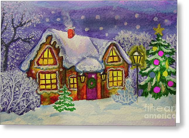 Christmas House, Painting Greeting Card