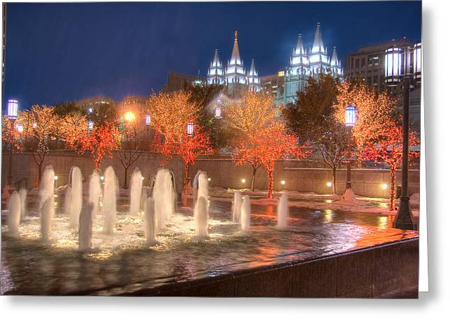 Christmas In Salt Lake City Greeting Card by Utah Images