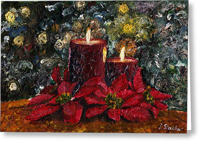 Candle Lit Paintings Greeting Cards - Christmas Lights Greeting Card by Viktor Stakhov
