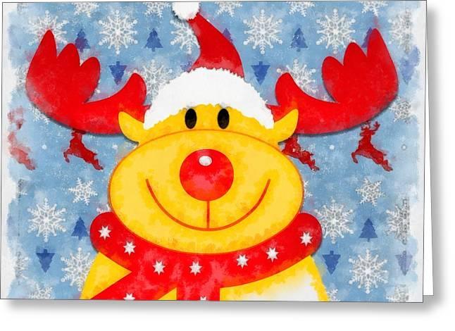 Christmas Reindeer Greeting Card by Esoterica Art Agency