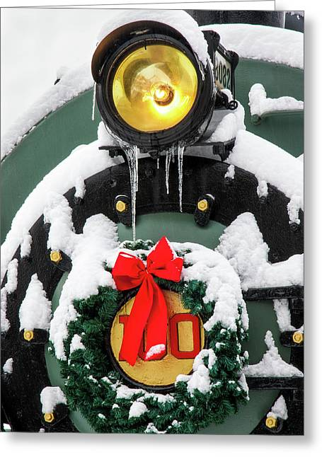 Christmas Train At Pacific Junction Greeting Card