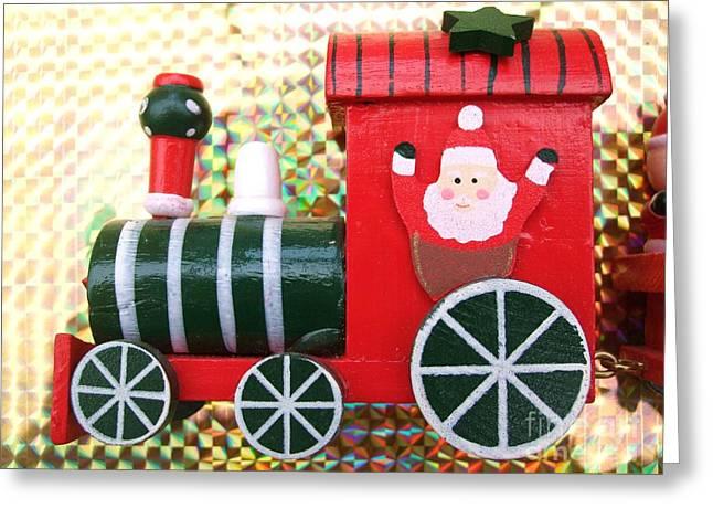 Christmas Train Greeting Card by Deborah Brewer