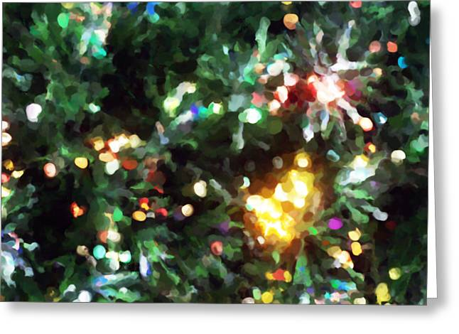 Christmas Tree Lights Impression  Greeting Card by Michelle  BarlondSmith