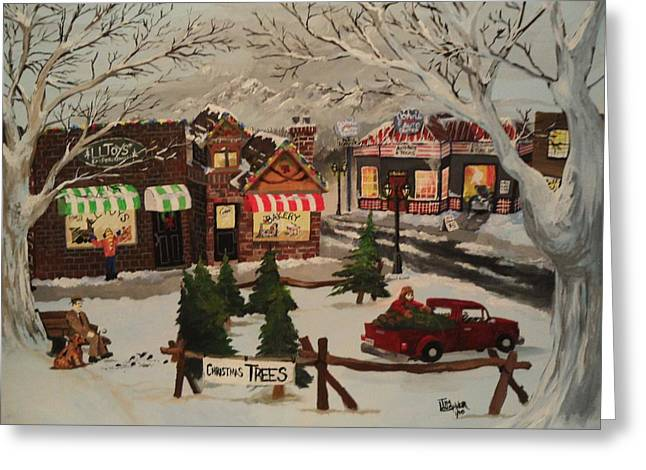 Christmas Village Greeting Card by Tim Loughner