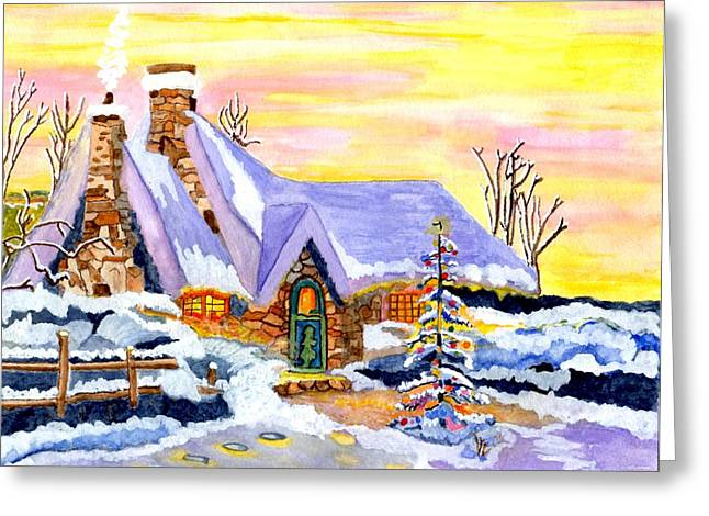 Snow Scene Landscape Greeting Cards - Christtmas Eve                   Greeting Card by Connie Valasco