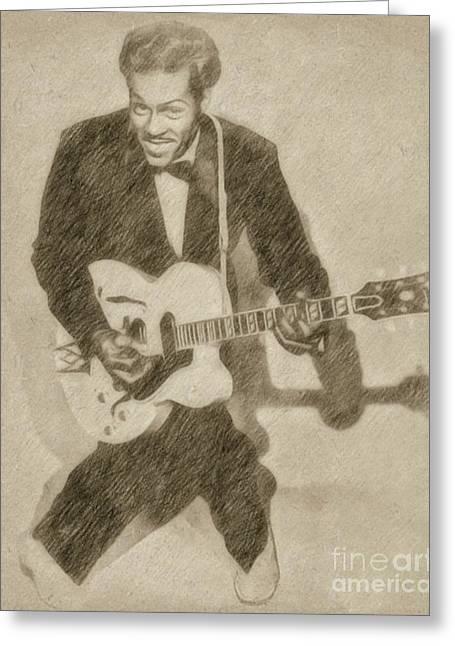 Chuck Berry, Rock N Roll Star Greeting Card by Frank Falcon