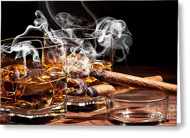 Cigar And Alcohol Collection Greeting Card