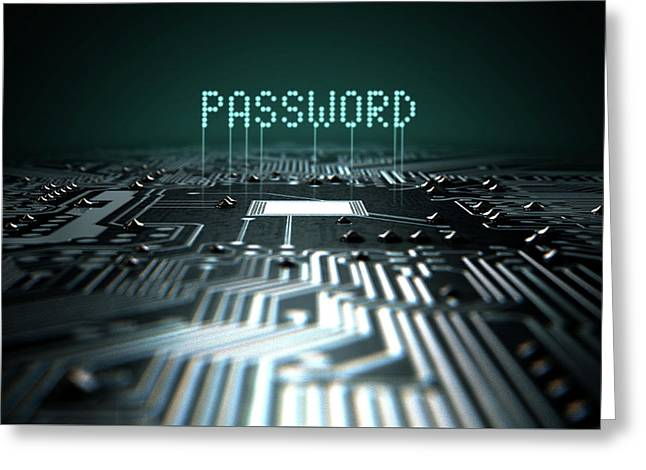 Circuit Board Projecting Password Greeting Card by Allan Swart