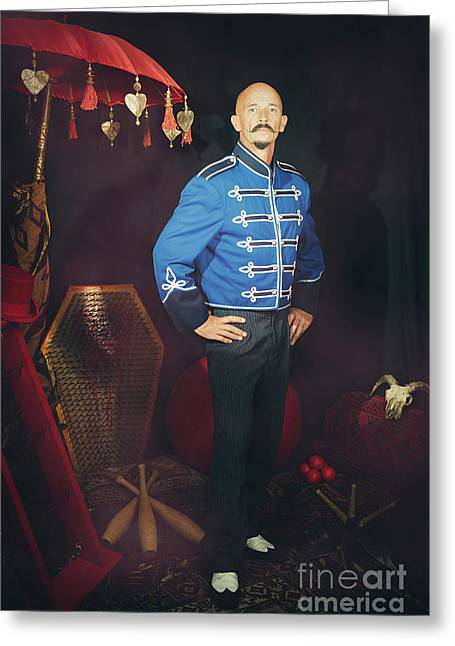 Circus Artiste Greeting Card by Amanda Elwell