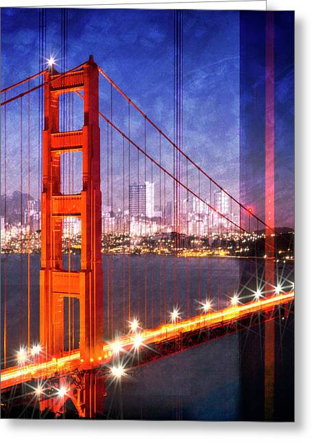 City Art Golden Gate Bridge Composing Greeting Card by Melanie Viola