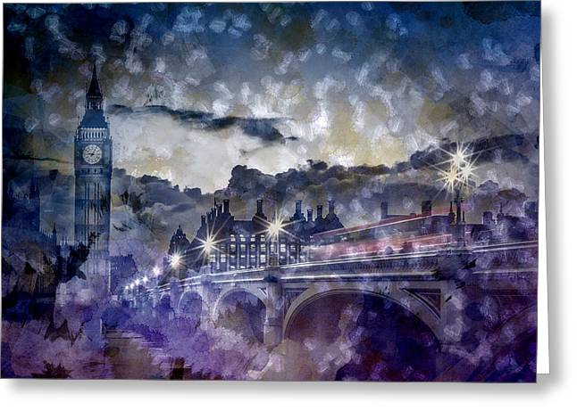 City-art London Westminster Bridge At Sunset Greeting Card by Melanie Viola