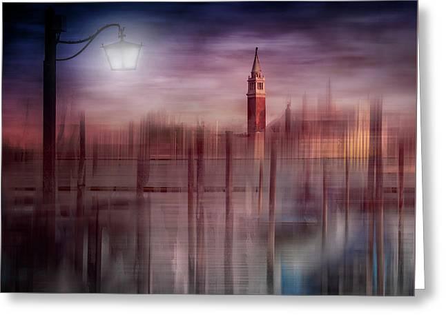 City-art Venice Gondolas At Sunset Greeting Card by Melanie Viola