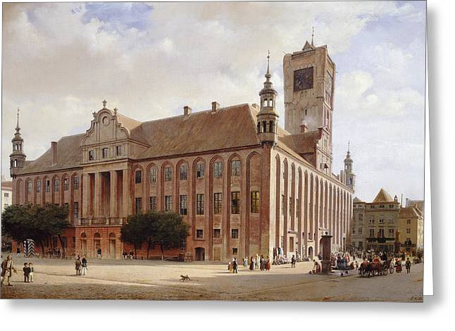 City Hall At Thorn Greeting Card by Eduard Gaertner