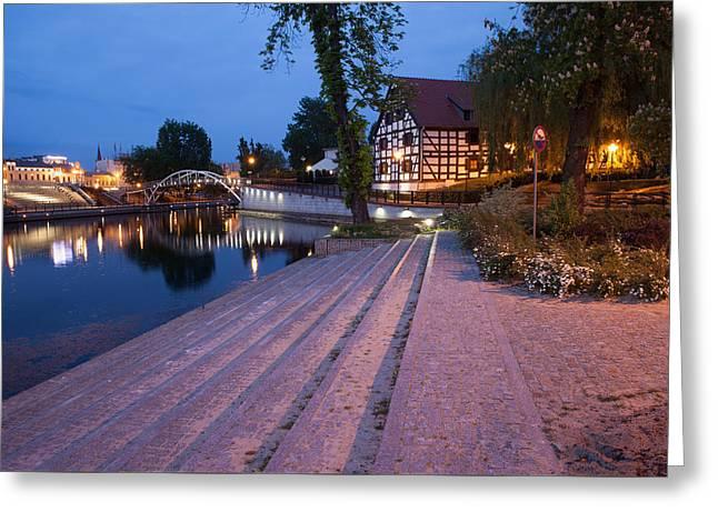 City Of Bydgoszcz By Night In Poland Greeting Card by Artur Bogacki