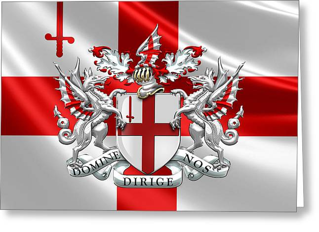 City Of London - Coat Of Arms Over Flag  Greeting Card