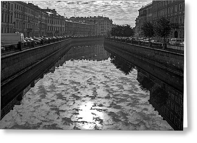 City Reflected In The Water Channels Greeting Card