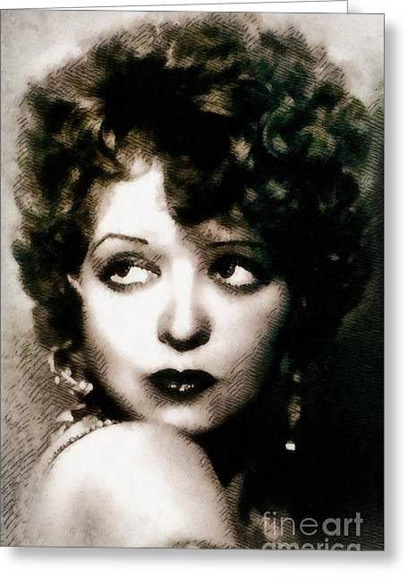Clara Bow, Vintage Actress By John Springfield Greeting Card