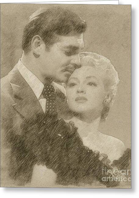 Clark Gable And Lana Turner Hollywood Legends Greeting Card by Frank Falcon