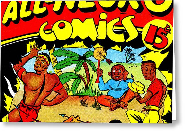 Classic Comic Book Cover All Negro Comics Square Greeting Card by Wingsdomain Art and Photography