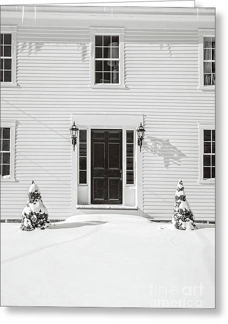 Classic New England Wood Framed Colonial Home In Winter Greeting Card