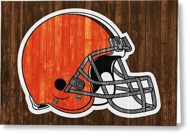 Cleveland Browns Barn Door Greeting Card by Dan Sproul