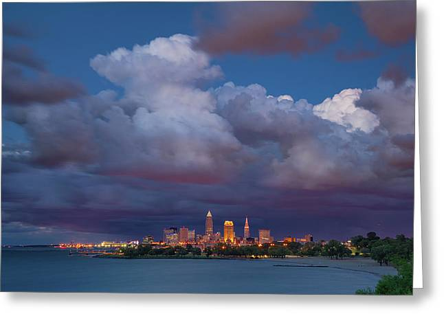 Greeting Card featuring the photograph Cleveland Skyline  by Emmanuel Panagiotakis