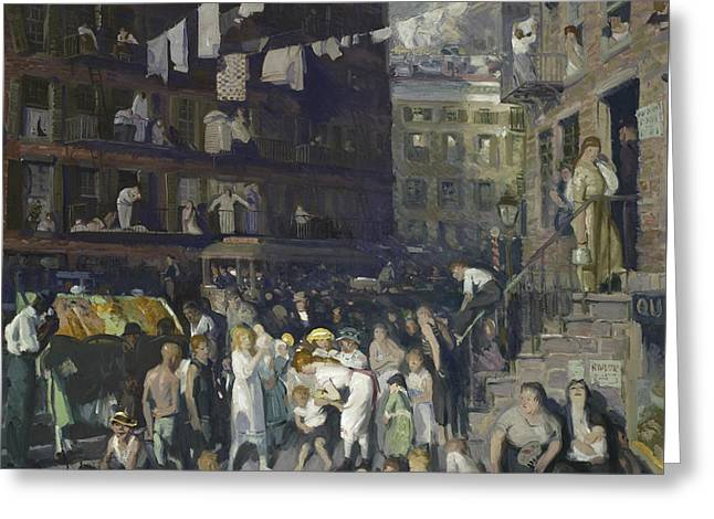 Cliff Dwellers Greeting Card by George Wesley Bellows