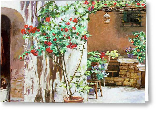 Climbing Roses Greeting Card by Dominique Amendola
