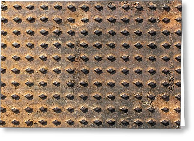 Close-up Background Manhole  Greeting Card by Germano Poli