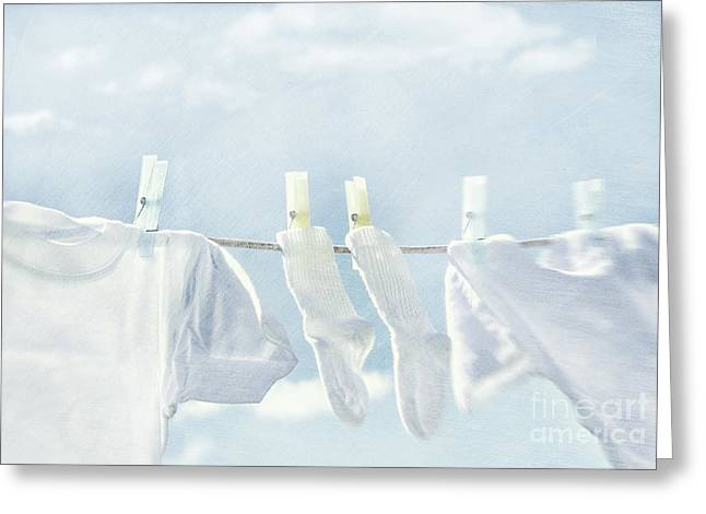 Clothes Hanging On Clothesline Greeting Card by Sandra Cunningham