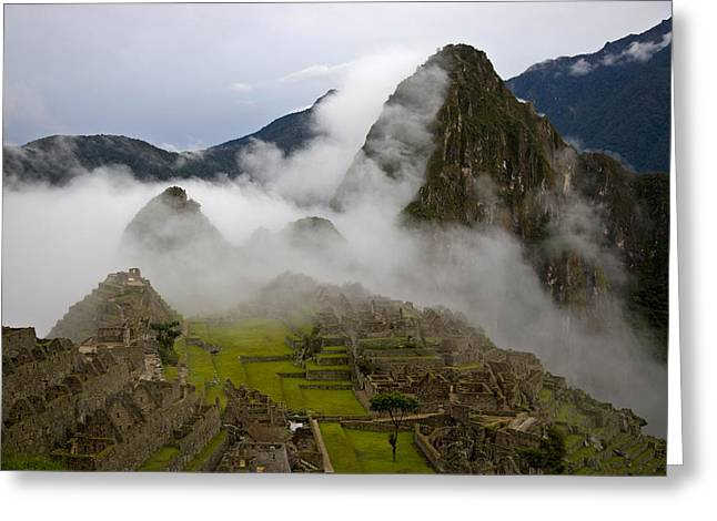 Pre Columbian Architecture And Art Greeting Cards - Cloud Shrouded Machu Picchu Greeting Card by Michael Melford
